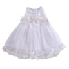 - 0-7Y Toddler Kids Baby Girls Pricness Bridesmaid Pageant Wedding Tulle Formal Party Dress Lace Floral Mesh Mini Dresses Sundress - White / 12M  jetcube