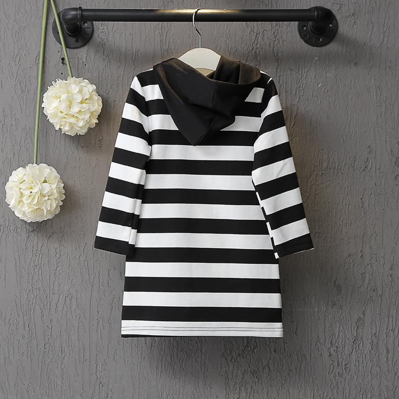 Children Clothing Spring Brand Black White Striped Long Sleeve Hooded Virgins Dress For Girls Kids Clothing Cute Outfit  UpCube- upcube