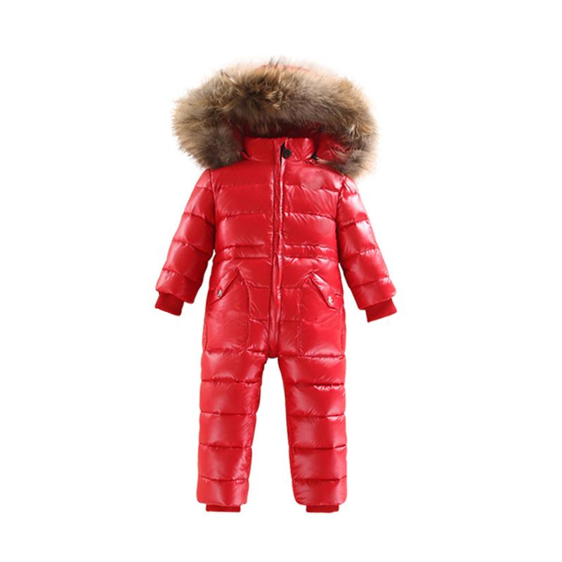 - -30 Winter Snowsuit Baby 80% duck Down Romper Outdoor Infant Overcoat Clothes Girls Overall for Boys Kids Jumpsuit 2~6Y - Red / 2T  jetcube