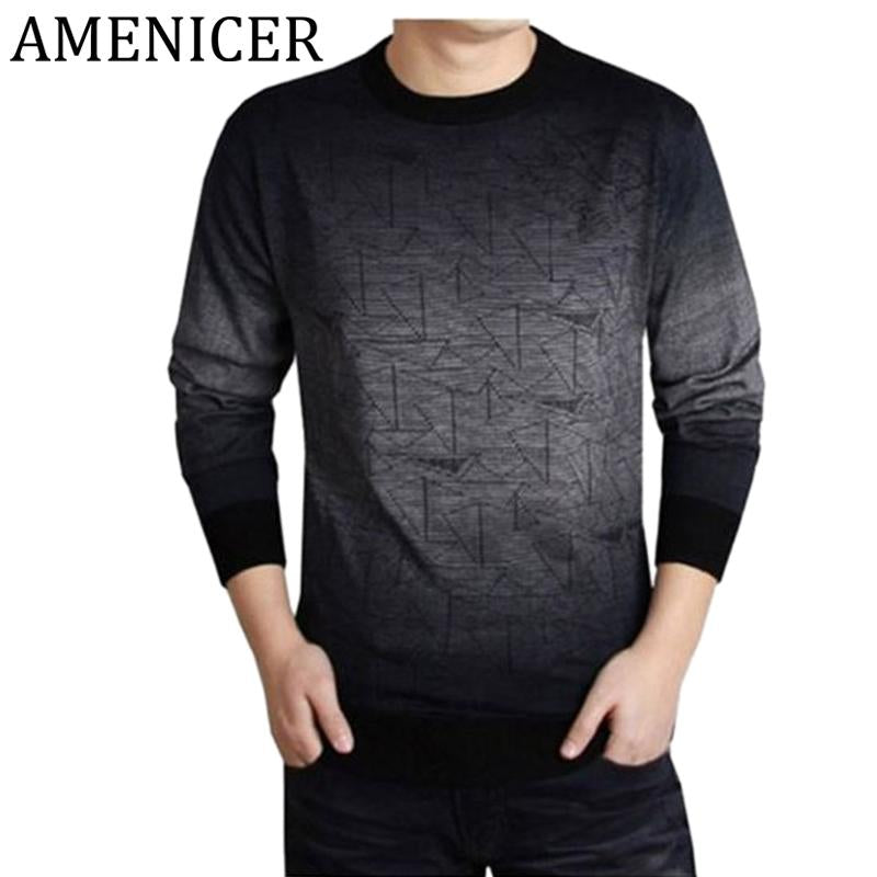 Spring Autumn 2017 Men Fashion Knitting Sweater Slim Fit O-Neck Printing Clothing Men Swaters And Pullovers Ropa Casual Hombre
