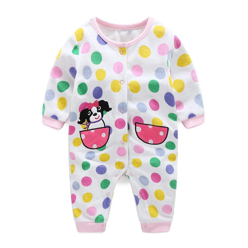 - 0-12M Autumn Fleece Baby Rompers Cute Pink Baby Girl Boy Clothing Infant Baby Girl Clothes Jumpsuits Footed Coverall V20C - MKBCROGL001P48 / 12M  jetcube