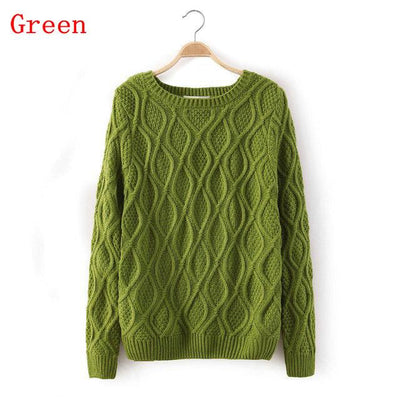 - 12 Color ! Hot New Autumn Winter Women Fashion Cotton Elastic Sweater Lady Knitted Long Sleeve O-neck Woolen Pullovers - 012Light Green / L  jetcube