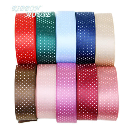 - (5 yards/lot) Small Dots Printed Satin ribbon lovely series ribbons wholesale (25mm&40mm) -   jetcube