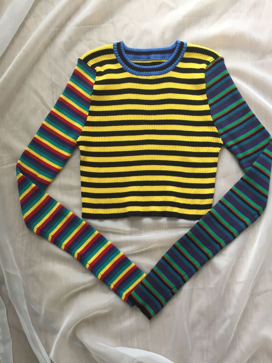 harajuku sweater women vintage punk unif contrast color block rainbow striped multicolored cropped knit short pull