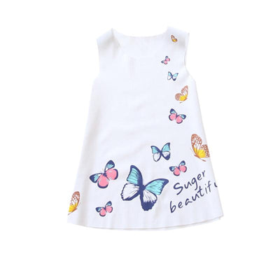 - 2-7Y Kids Girls Sleeveless Dress Summer Girls Ice silk Clothes Baby Girl Butterfly Princess Party Dresses LH6s - White / 2T  jetcube