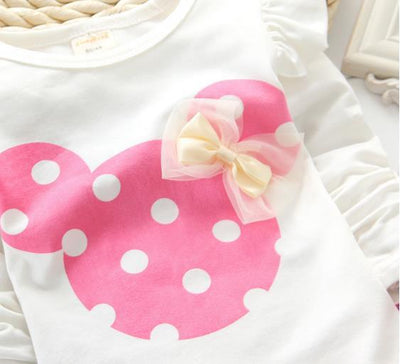 - 2016 Fashion Micky Mouse Baby Set Dot Cotton Baby Girl Clothes Kids Clothing Set Girl (Pants+T-shirt) Summer Mutli-Colors - Pink / 12M  jetcube