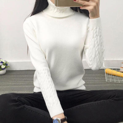 2017 Autumn and Winter Vintage Women Sweater Long Sleeve Loose Turtleneck Knitted Pullover Casual Sweaters Crop Top KJ1425