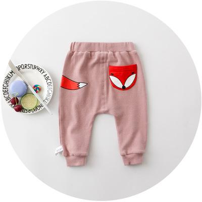 - 0-2 years 2017 Baby Pants Solid Color Cotton Children Pants Autumn Winter Fox Print Children pants - a  jetcube