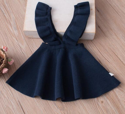 - 2-8Yrs Autumn Baby Girls Dress Fashion Girl Clothing Knit Sweater Kids Dresses for Girls Solid Sleeveless School Uniform Vestido - Blue / 2T  jetcube