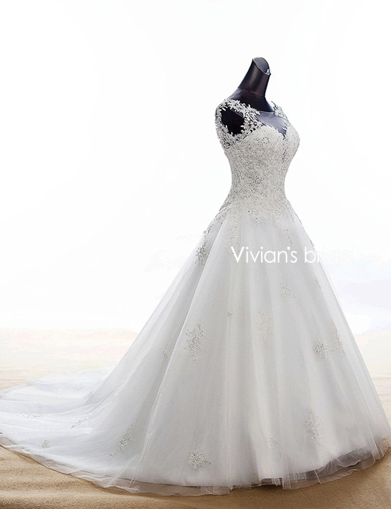 Vivian\'s Bridal Boho Lace Appliques Wedding Dress 2018 White Court ...