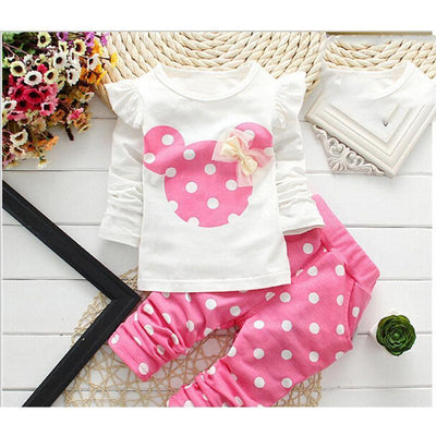 - 2016 Fashion Micky Mouse Baby Set Dot Cotton Baby Girl Clothes Kids Clothing Set Girl (Pants+T-shirt) Summer Mutli-Colors -   jetcube