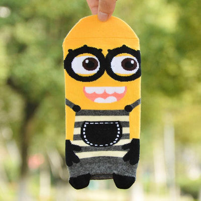 - % Unisex women 3d print cartoon Minion short socks despicable me brand striped cotton cute funny female socks ankle low cut -   jetcube