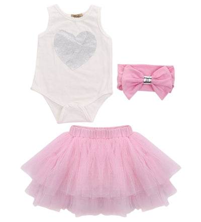 - 0-18M Newborn Infant Baby Girls Clothes Sleeveless Heart Bodysuit Romper + Tutu Skirt + Headband 3pcs Outfit Kids Clothing Set - Pink / 0-3 months  jetcube