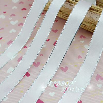 - (25yards/roll) 20/25mm White Silver Edge Satin Ribbon Wholesale high quality gift packaging Christmas ribbons -   jetcube