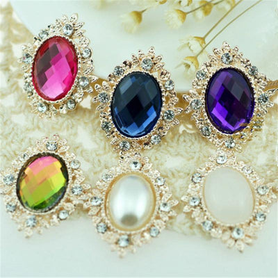 - 17pcs/lot 17colors 25*30mm Decorative Metal Rhinestone Button Oval Shape Flatback Gold Plated Flower Center DIY Accessories - Default Title  jetcube