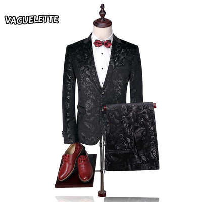 - (Blazer+Pants) Groom Wedding Suit Mens Print Paisley Floral Stage Wear For Singer Fashion Slim Fit Mens Suits With Pants M-4XL -   jetcube