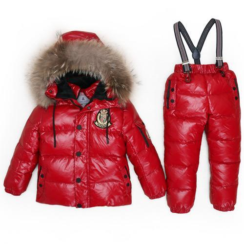 - -30Degrees Russia Winter Ski Jumpsuit Children Clothing Boys Girls Sport Suit Kids Snow Wear Jackets coats Bib pants Waterproof - Red / 24M  jetcube