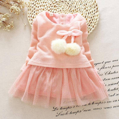 - 2016 Autumn Long Sleeved Round Collar Kids Baby Bebe Girls Bow Ball Sequined Dresses Princess Tutu Birthday Party Dress MT1001 - Pink / 10-12 months  jetcube