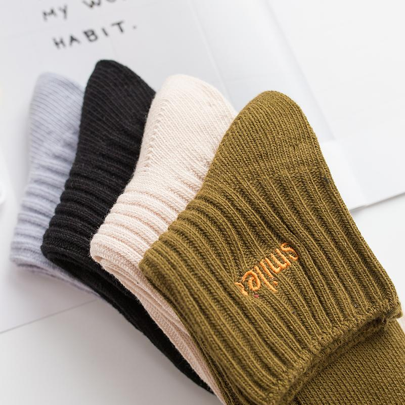 Simple Design Knitted Striped Letter Patterned Socks Women Fashion Winter Short Socks Cool Funny Art Socks Hipster Sporty Sox