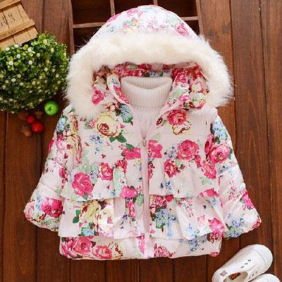 85c8a3d61501 Baby girls winter coat girls fashion flower Jackets kids winter ...
