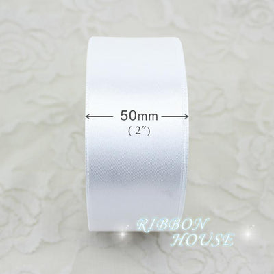 - (25 yards/roll) 2'' 50mm White Single face satin ribbon webbing decoration gift Christmas ribbons -   jetcube