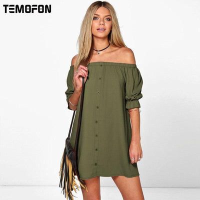 d5fca8c9ca8 TEMOFON Women Summer Sexy Dresses Party Beach Mini Dresses Casual Vestidos Dress  Solid Plus Size Dresses