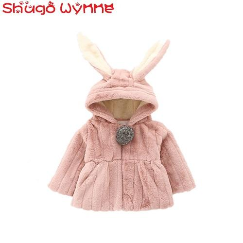 """Winter Baby Girls Faux Fur Long Sleeve Rabbit Ear Hooded Thick Fleece Jacket Coat Kids Princess Warm Outerwear Parkas casaco "" - Jetcube"