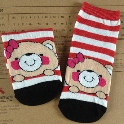 - % 3D Cartoon animal cat dog cat Bear fox rabbit pig Socks Pattern Women Men kids Cotton Female Sock Casual Cotton Short Socks -   jetcube