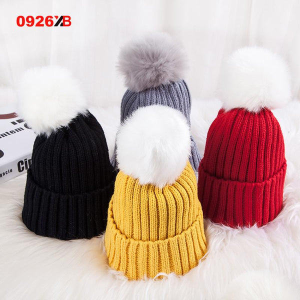 0926XB Skullies & Beanies Kid Solid Hats Real pompom hat winter hats for women knitted hat beanie women girls 10 colorst XB-A415 - Ecart