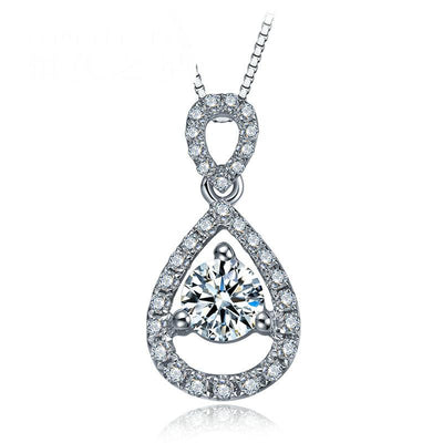 - 0.08ct/center stone+0.20ct/side stone Handmade 18K Gold Natural Diamond Pendant Necklace for Women Wedding - Free DHL Shipping -   jetcube