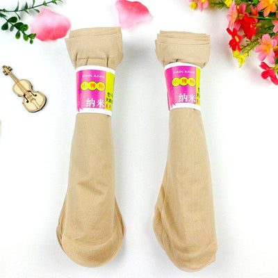 - 10 Pairs Women Velvet Socks Summer Thin Silk Sexy High Elastic Nylon Low Cut Cool Feeling Solid Color Breathable Socks - Skin Color / One Size  jetcube