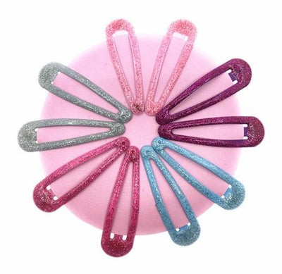 - 10 Pcs/lot Solid Candy Color Girls Hair Clips BB Clips Snap Band Hairpins Kids Hair Accessories - Glitter Grey  jetcube