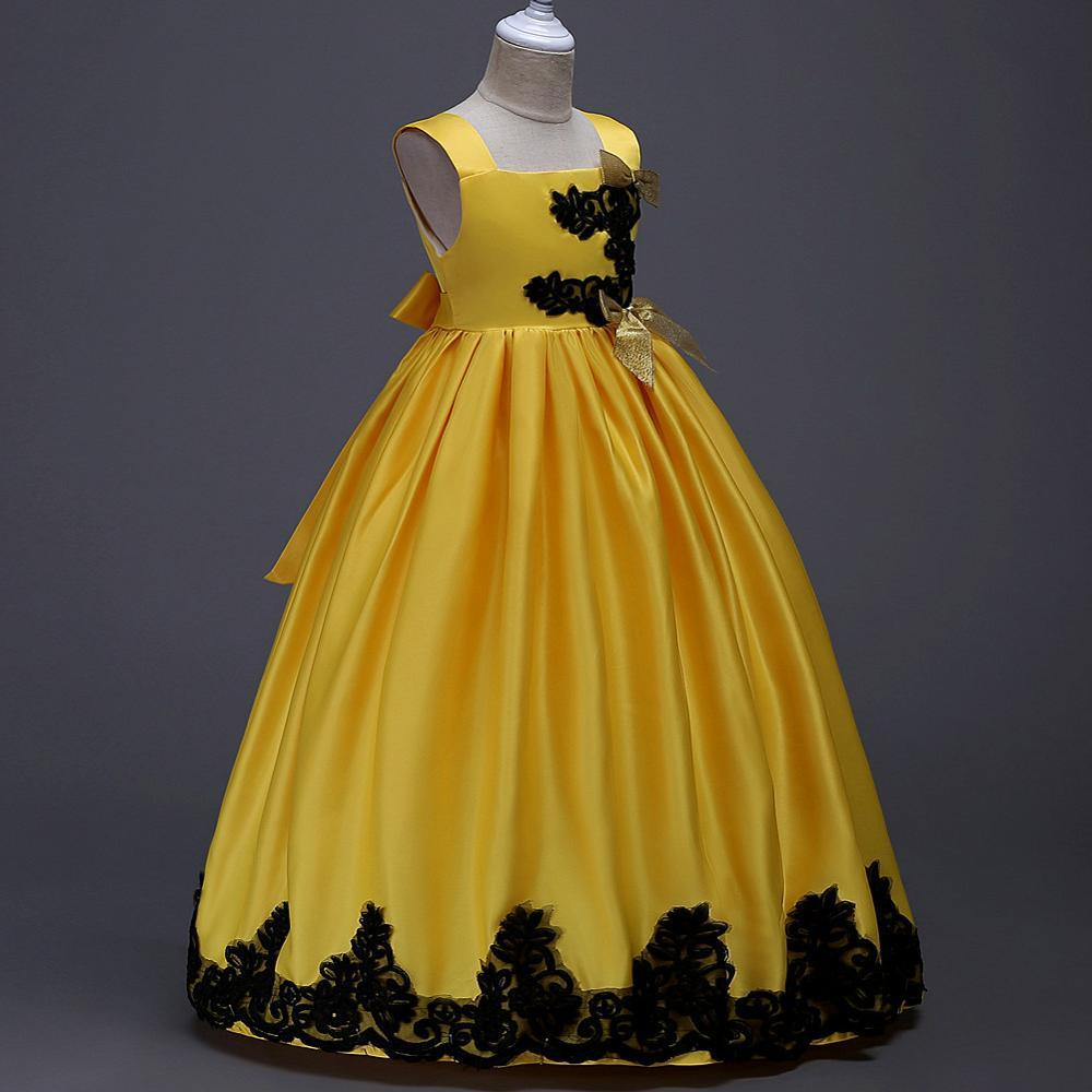Popodion Flower Girl Dresses Yellow Ball Gown Pageant Dresses For