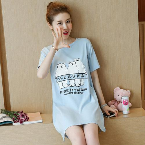 3f74683177862 Nursing Shirt Sleepwear Maternity Cotton Maternity Nightgown Cute Bear Print  Short Sleeve Long Tees Bright Blue