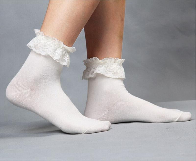 Brand New Vintage Retro Mesh Lace Ruffle Frilly Ankle Socks Great Quality