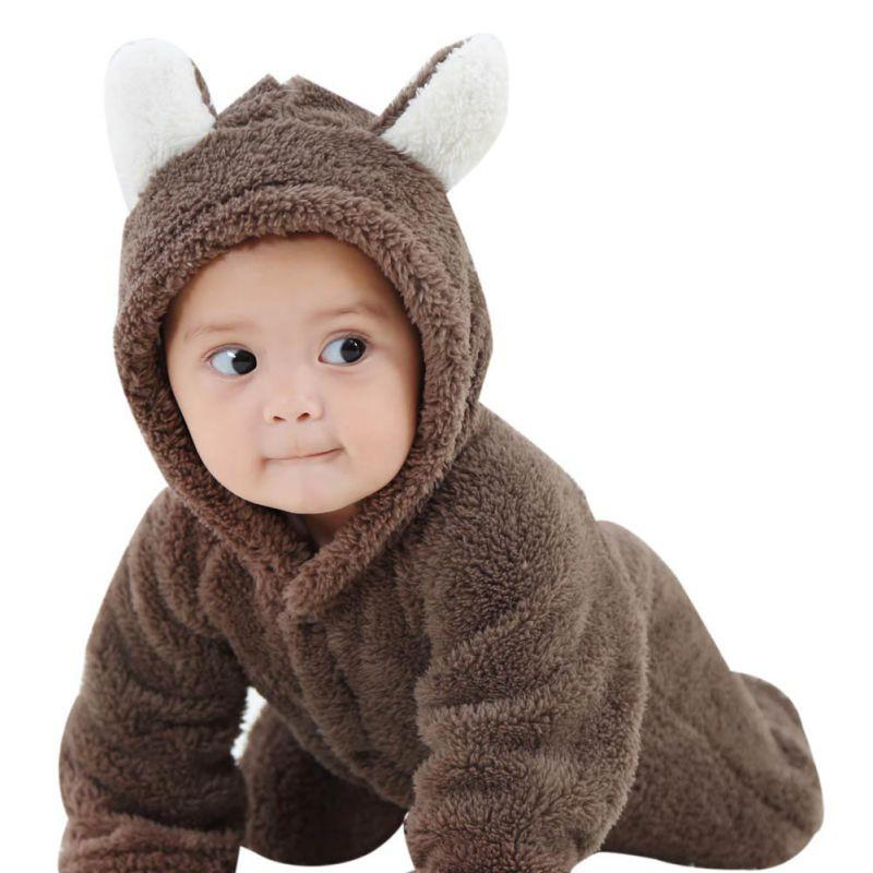 New 7 Color Infant Baby Boys And Girls Winter Warm Coral Fleece Romper Jumpsuit Hooded Clothes 0-12M S2
