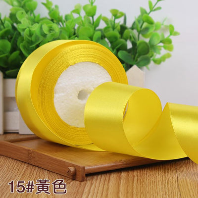 - (25 yards/roll) 2'' (50mm) single face Satin Ribbon Gift Packing Christmas Ribbons Wedding Party Decorative DIY Crafts supplies - yellow  jetcube