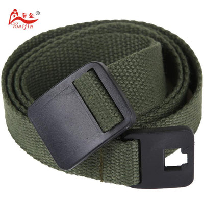 - 2.5cm webbing Waist Belt Candy Color Mens Womens Unisex Plain Webbing Canvas plastic Buckle Belt Personal Tailor - Army green / 100cm  jetcube