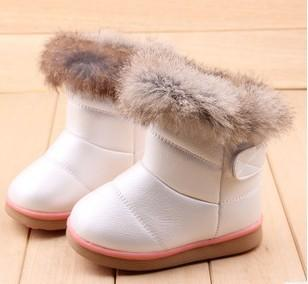 - 2016 fashion children shoes children boots snow boots girls boots cotton shoes leather - white design 2 / 10.5  jetcube