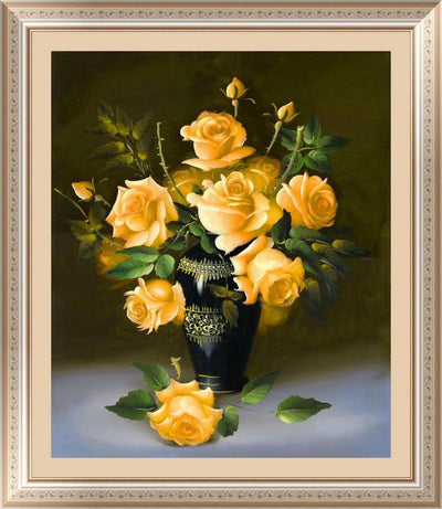 - &% 4 colors roses Diamond Embroidery 5D Diamond Painting Cross Stitch Kits Mosaic crystal Round Drill picture around mosaics - orange  jetcube