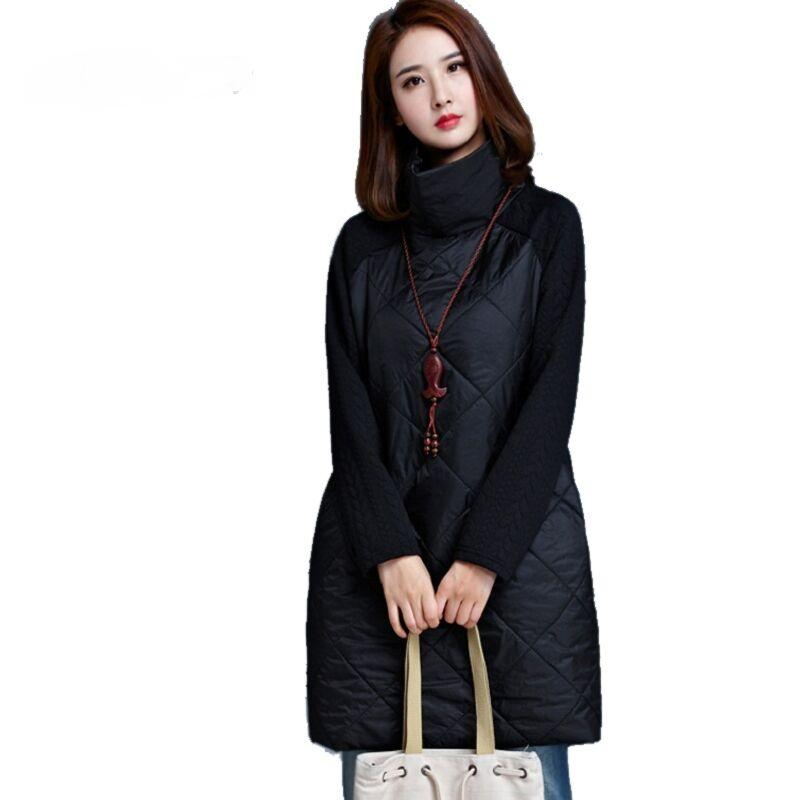 2017 Autumn Spring Women Loose Dress Turtleneck Long Sleeve A-Line Vestidos Plus Size Black Warm Autumn Loose Women Dress Tunic