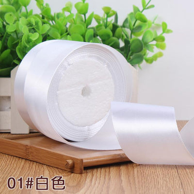 - (25 yards/roll) 2'' (50mm) single face Satin Ribbon Gift Packing Christmas Ribbons Wedding Party Decorative DIY Crafts supplies - white  jetcube