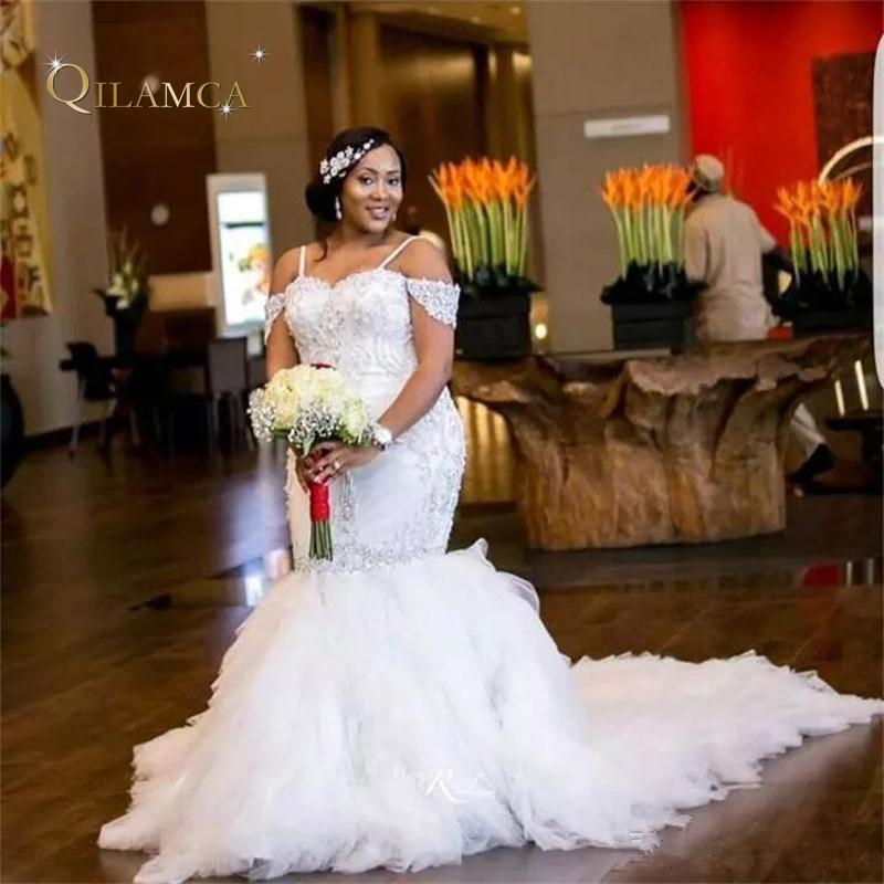 64d360b155 African Plus Size Wedding Dresses Spaghetti Straps Lace Appliques Beadding  Capped Mermaid Wedding Dress Tiered Tulle