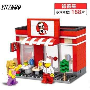 - (YNYNOO)Single Sale Mini Street Scene Retail Store Shop Architecture With Building Blocks Sets Model Toys FW138 - White  jetcube
