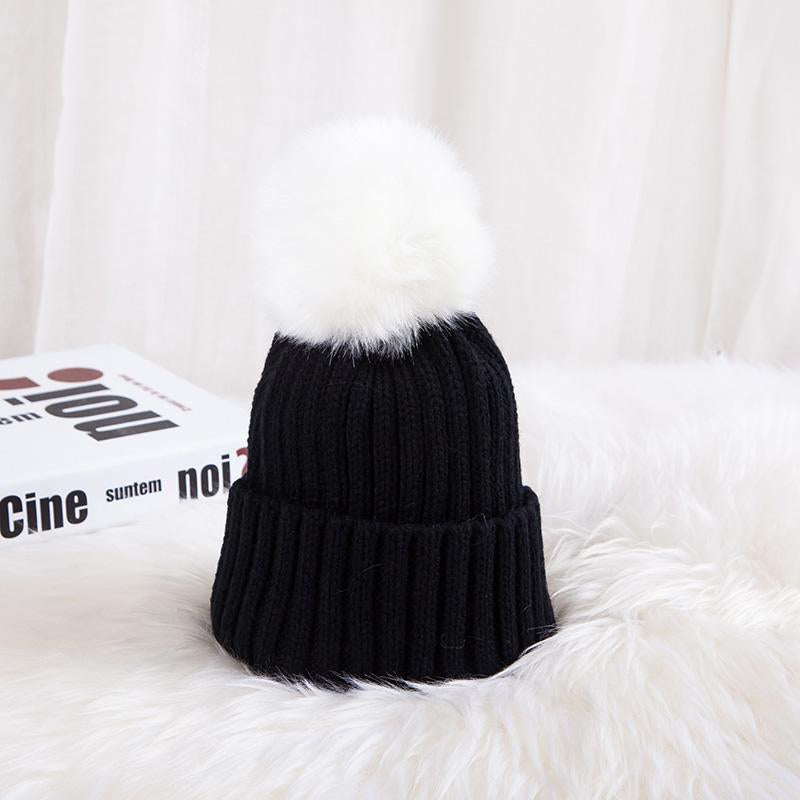 - 0926XB Skullies & Beanies Kid Solid Hats Real pompom hat winter hats for women knitted hat beanie women girls 10 colorst XB-A415 - Black / Children  jetcube