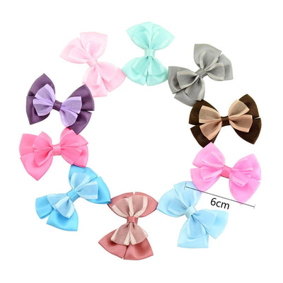 - 10 Pcs/ Lot Kids Mini Bow Whole Wrapped Safety Hair Clips Cute Solid Dot Stripe Printing Hairpins For Girls 731 - 2  jetcube