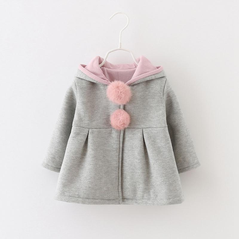 - 0-24 Months Autumn Winter Jackets for Girls Cute Rabbit Ear Hooded Baby Girl Coat 2017 New Style Solid Newborn Baby Outwears - Grey / 12M  jetcube