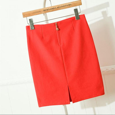 - (photos)New Spring And Summer Cotton Mini Skirt Slit All-match Slim Skirt free shipping 2017 -   jetcube