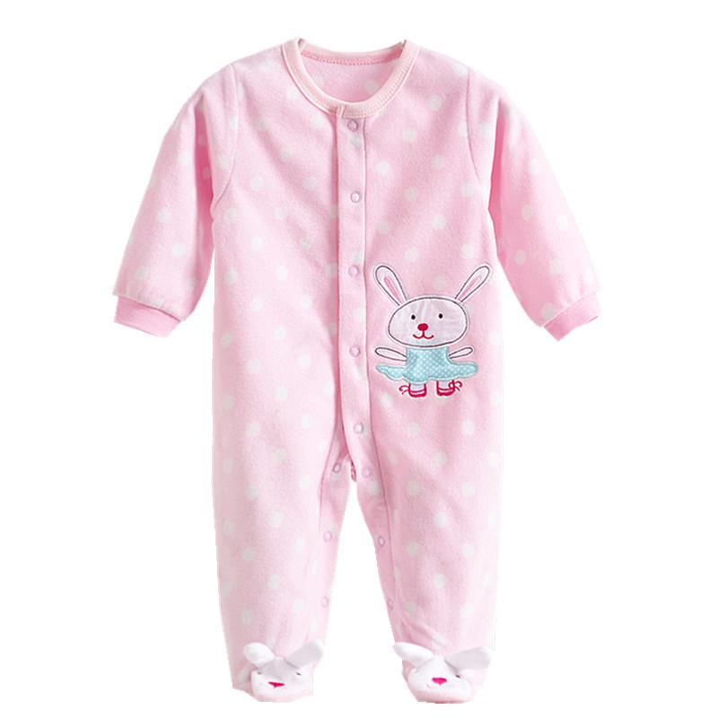 - 0-12M Autumn Fleece Baby Rompers Cute Pink Baby Girl Boy Clothing Infant Baby Girl Clothes Jumpsuits Footed Coverall V20C - MKBCROGL001P17 / 12M  jetcube