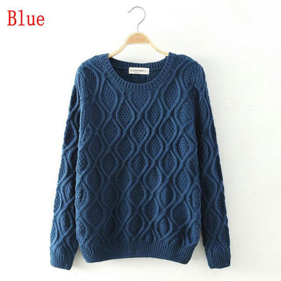 - 12 Color ! Hot New Autumn Winter Women Fashion Cotton Elastic Sweater Lady Knitted Long Sleeve O-neck Woolen Pullovers - 012Dark Blue / L  jetcube